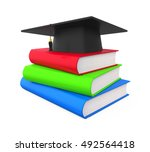 graduation cap and books. 3d... | Shutterstock . vector #492564418