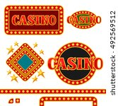 set of casino signboards and... | Shutterstock .eps vector #492569512