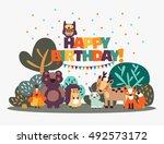 happy birthday   lovely vector... | Shutterstock .eps vector #492573172