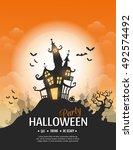 vector happy halloween poster... | Shutterstock .eps vector #492574492