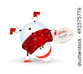christmas cute   baby    funny  ...   Shutterstock .eps vector #492575776