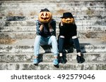 Young Halloween Couple Of Man...