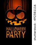 halloween party design template ... | Shutterstock . vector #492581116