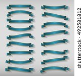 set vector blue ribbons. vector ... | Shutterstock .eps vector #492581812