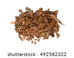 Small photo of heap of pine bark isolated