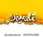happy diwali text design... | Shutterstock .eps vector #492591508