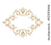 gold vintage baroque element... | Shutterstock .eps vector #492593446