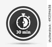 timer sign icon. 30 minutes... | Shutterstock .eps vector #492594658