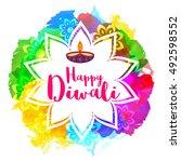 happy diwali festival background | Shutterstock .eps vector #492598552