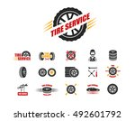 tire service icons and... | Shutterstock .eps vector #492601792
