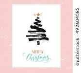 merry christmas card ... | Shutterstock .eps vector #492604582