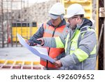 civil engineer and foreman at... | Shutterstock . vector #492609652