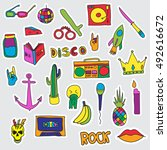 vector set of patches and... | Shutterstock .eps vector #492616672