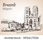 saint michel cathedral  sint...   Shutterstock .eps vector #492617026