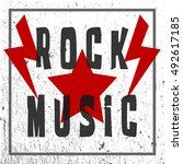 text of rock music. star and... | Shutterstock .eps vector #492617185
