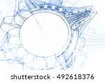 architectural drawing   detail... | Shutterstock . vector #492618376