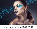 close up of a young woman with... | Shutterstock . vector #492622552