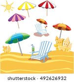 summer objects. | Shutterstock .eps vector #492626932