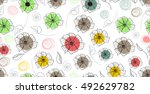 seamless wallpaper with flowers | Shutterstock .eps vector #492629782