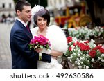 fantastic bride with pink... | Shutterstock . vector #492630586