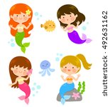 four cute cartoon mermaids... | Shutterstock .eps vector #492631162