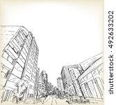 city scape in tokyo  sketch... | Shutterstock .eps vector #492633202
