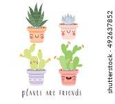 set of four illustration of... | Shutterstock .eps vector #492637852