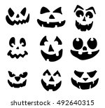 scary  pumpkin face vector... | Shutterstock .eps vector #492640315