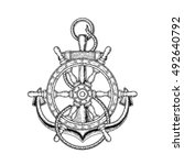 vector illustration of nautical ... | Shutterstock .eps vector #492640792