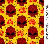 flower skull seamless pattern... | Shutterstock . vector #492654202