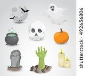 halloween icon set isolated on... | Shutterstock .eps vector #492656806
