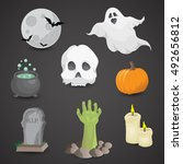 halloween icon set isolated on... | Shutterstock .eps vector #492656812