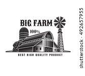 farmer's windmill and barn... | Shutterstock .eps vector #492657955
