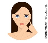 rash on the face illustration.... | Shutterstock .eps vector #492658846