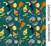 hand drawn seamless african... | Shutterstock .eps vector #492659065