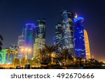 Stock photo doha skyline at night qatar middle east 492670666