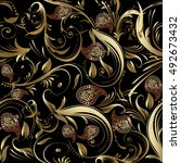 paisley floral black vector... | Shutterstock .eps vector #492673432