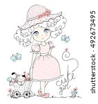 Illustration Cute Girl  Little ...
