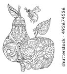 honey apple and pear doodle and ... | Shutterstock .eps vector #492674536