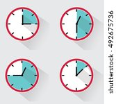 clock vector icons. time... | Shutterstock .eps vector #492675736