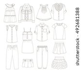 girls clothes. sketches. | Shutterstock .eps vector #492681388
