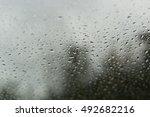 drops of rain on glass   rain... | Shutterstock . vector #492682216