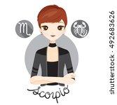 woman with scorpio zodiac sign  ... | Shutterstock .eps vector #492683626