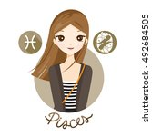 woman with pisces zodiac sign ... | Shutterstock .eps vector #492684505