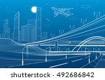 car overpass  city... | Shutterstock .eps vector #492686842