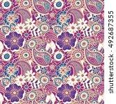 paisley mehndi seamless... | Shutterstock .eps vector #492687355