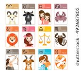 zodiac signs icons set ... | Shutterstock .eps vector #492687802