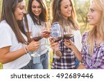 group of young smiling girls...   Shutterstock . vector #492689446