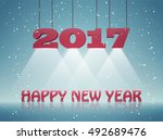 happy new year 2017 greeting... | Shutterstock .eps vector #492689476