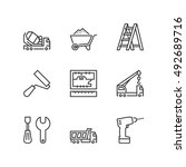 thin line icons set about... | Shutterstock .eps vector #492689716